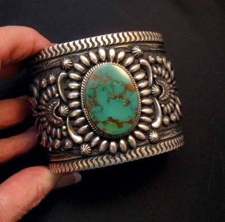 Image 6 of A++ Darryl Becenti Navajo Royston Turquoise Silver Cuff Bracelet