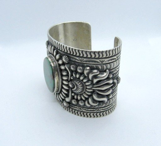 Image 1 of A++ Darryl Becenti Navajo Royston Turquoise Silver Cuff Bracelet