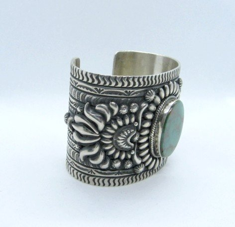Image 2 of A++ Darryl Becenti Navajo Royston Turquoise Silver Cuff Bracelet