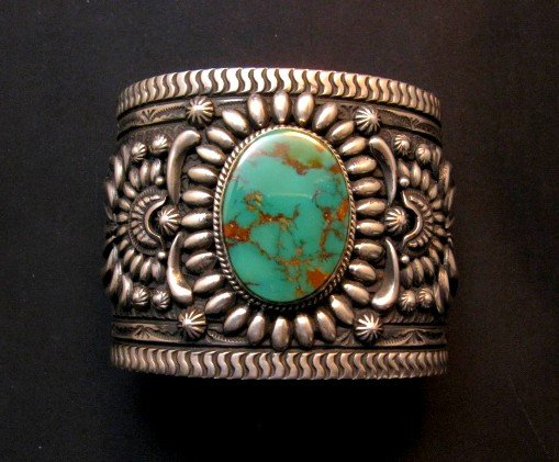 Image 0 of A++ Darryl Becenti Navajo Royston Turquoise Silver Cuff Bracelet