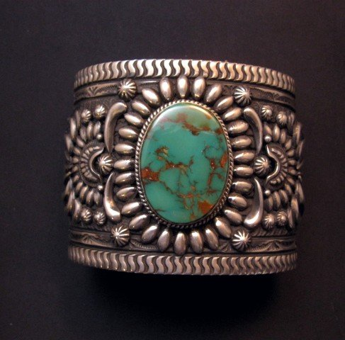 Image 3 of A++ Darryl Becenti Navajo Royston Turquoise Silver Cuff Bracelet