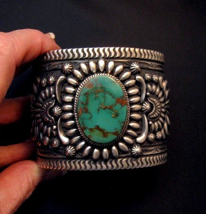 Image 4 of A++ Darryl Becenti Navajo Royston Turquoise Silver Cuff Bracelet