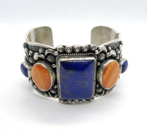 Image 4 of Darryl Becenti Navajo Native American Multigem Silver Bracelet