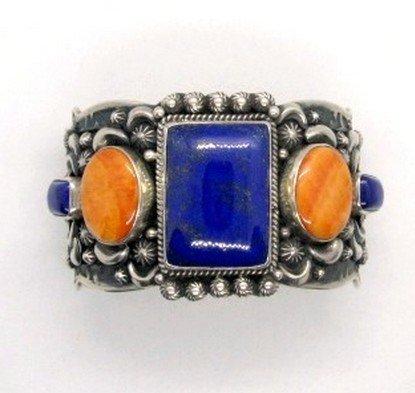 Image 0 of Darryl Becenti Navajo Native American Multigem Silver Bracelet