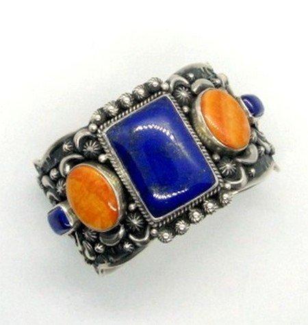 Image 1 of Darryl Becenti Navajo Native American Multigem Silver Bracelet