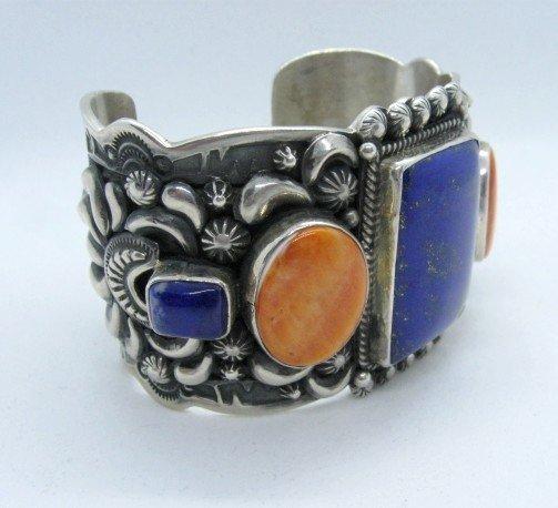 Image 2 of Darryl Becenti Navajo Native American Multigem Silver Bracelet
