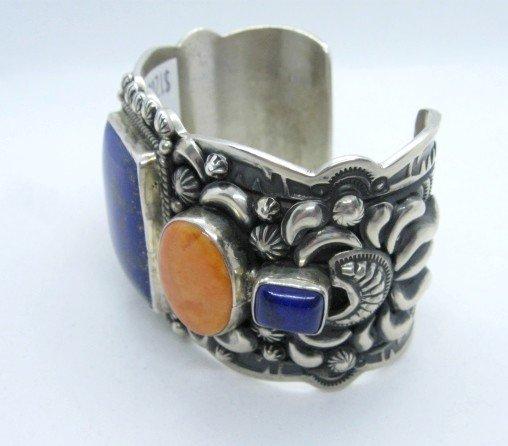 Image 3 of Darryl Becenti Navajo Native American Multigem Silver Bracelet