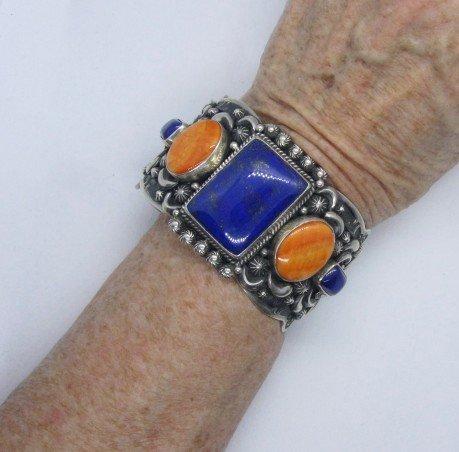 Image 5 of Darryl Becenti Navajo Native American Multigem Silver Bracelet