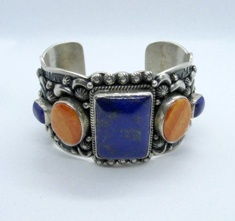 Image 6 of Darryl Becenti Navajo Native American Multigem Silver Bracelet