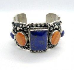 Darryl Becenti Navajo Native American Multigem Silver Bracelet