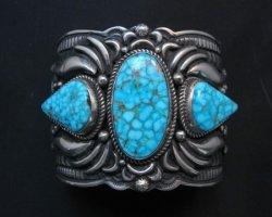Darryl Becenti Navajo Kingman Birdseye Turquoise Silver Bracelet
