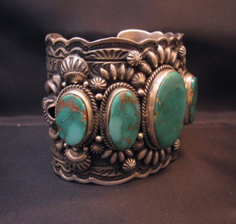 Image 7 of Darryl Becenti Navajo 5-Stone Royston Turquoise Silver Cuff Bracelet