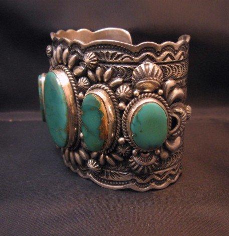 Image 8 of Darryl Becenti Navajo 5-Stone Royston Turquoise Silver Cuff Bracelet