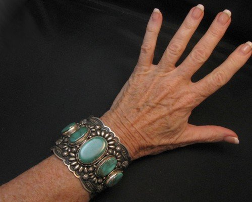 Image 2 of Darryl Becenti Navajo 5-Stone Royston Turquoise Silver Cuff Bracelet