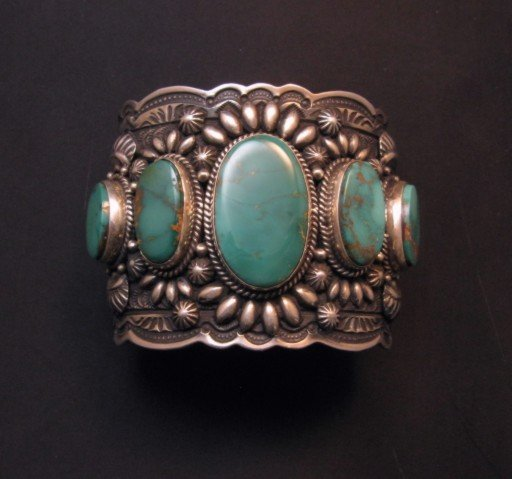 Image 10 of Darryl Becenti Navajo 5-Stone Royston Turquoise Silver Cuff Bracelet