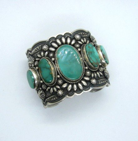 Image 4 of Darryl Becenti Navajo 5-Stone Royston Turquoise Silver Cuff Bracelet