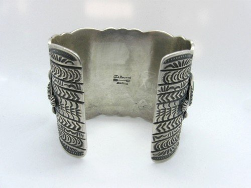 Image 5 of Darryl Becenti Navajo 5-Stone Royston Turquoise Silver Cuff Bracelet