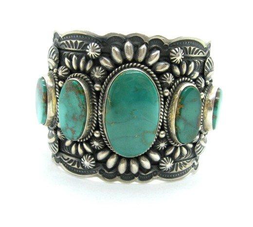 Image 1 of Darryl Becenti Navajo 5-Stone Royston Turquoise Silver Cuff Bracelet