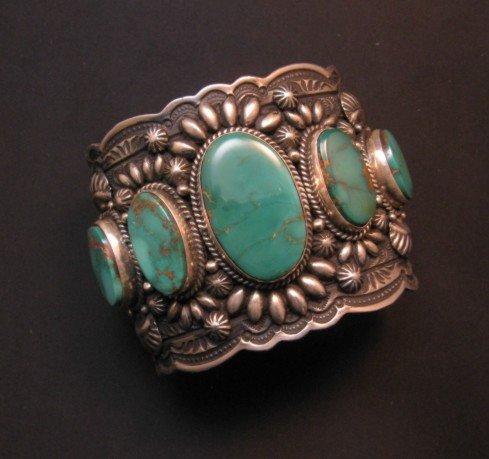 Image 0 of Darryl Becenti Navajo 5-Stone Royston Turquoise Silver Cuff Bracelet