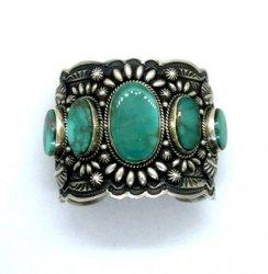 Darryl Becenti Navajo 5-Stone Royston Turquoise Silver Cuff Bracelet
