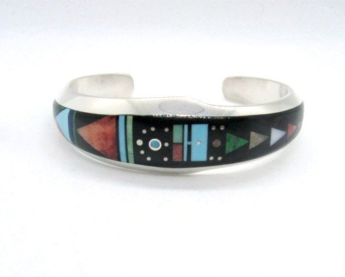 Image 0 of Jim Harrison Navajo Native American Multigem Inlaid Bracelet, 6-7/16
