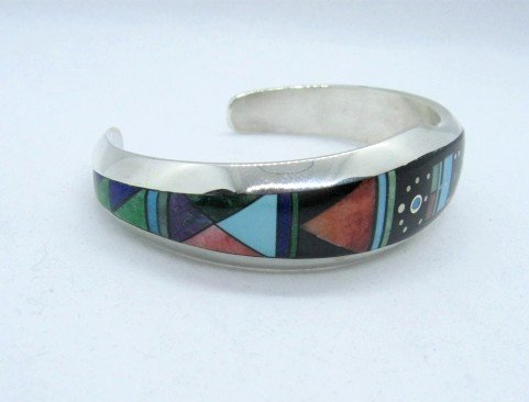Image 2 of Jim Harrison Navajo Native American Multigem Inlaid Bracelet, 6-7/16
