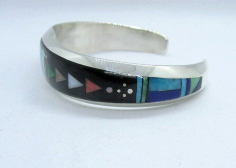 Image 3 of Jim Harrison Navajo Native American Multigem Inlaid Bracelet, 6-7/16
