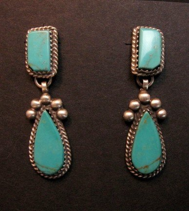 Image 1 of Navajo Native American 2-pc Turquoise Silver Earrings, Selena Warner