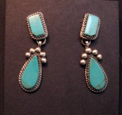 Navajo Native American 2-pc Turquoise Silver Earrings, Selena Warner
