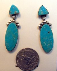 Navajo Double Kingman Turquoise Silver Earrings, Selena Warner