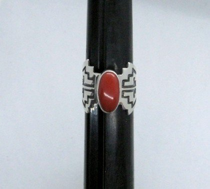 Image 0 of Coral Navajo Silver Overlay Ring, Everett and Mary Teller, sz8