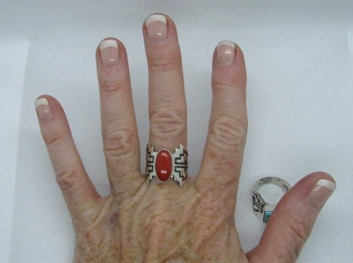 Image 1 of Coral Navajo Silver Overlay Ring, Everett and Mary Teller, sz8