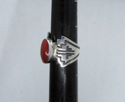 Image 2 of Coral Navajo Silver Overlay Ring, Everett and Mary Teller, sz8