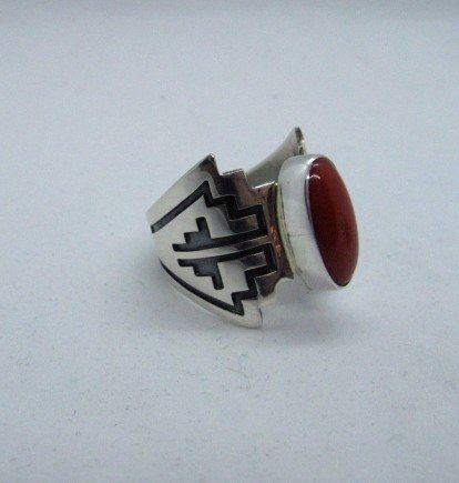 Image 3 of Coral Navajo Silver Overlay Ring, Everett and Mary Teller, sz8