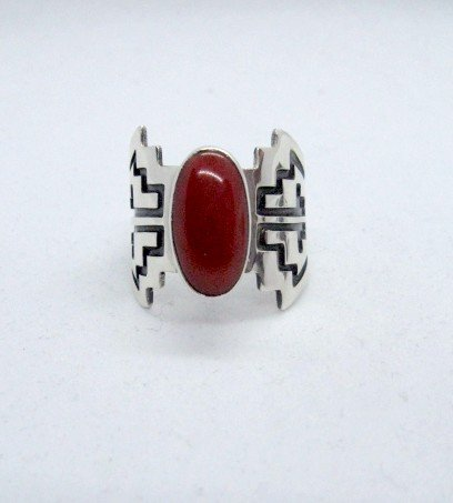 Image 4 of Coral Navajo Silver Overlay Ring, Everett and Mary Teller, sz8