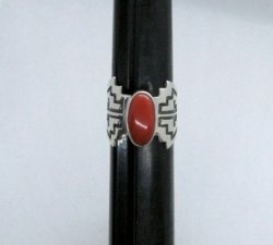 Coral Navajo Silver Overlay Ring, Everett and Mary Teller, sz8