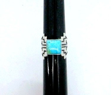 Image 0 of Turquoise Navajo Silver Overlay Ring, Everett and Mary Teller, sz7-1/2