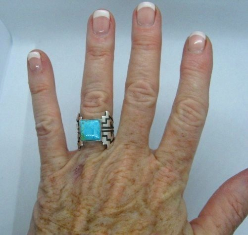 Image 1 of Turquoise Navajo Silver Overlay Ring, Everett and Mary Teller, sz7-1/2