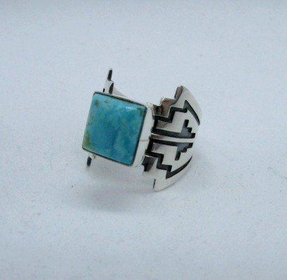 Image 2 of Turquoise Navajo Silver Overlay Ring, Everett and Mary Teller, sz7-1/2
