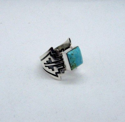 Image 3 of Turquoise Navajo Silver Overlay Ring, Everett and Mary Teller, sz7-1/2