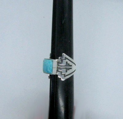 Image 4 of Turquoise Navajo Silver Overlay Ring, Everett and Mary Teller, sz7-1/2