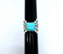 Turquoise Navajo Silver Overlay Ring, Everett and Mary Teller, sz7-1/2