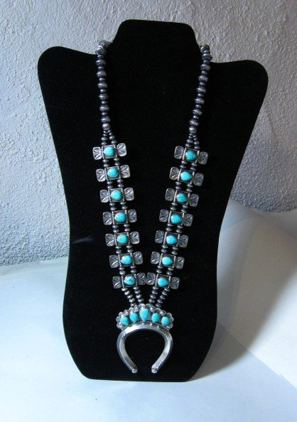 Image 9 of Navajo Turquoise Bow Tie Squash Blossom Necklace, Everett & Mary Teller