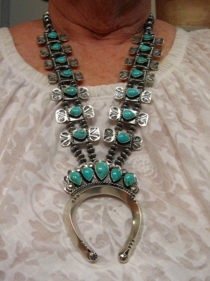 Image 10 of Navajo Turquoise Bow Tie Squash Blossom Necklace, Everett & Mary Teller