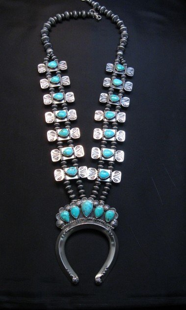 Image 11 of Navajo Turquoise Bow Tie Squash Blossom Necklace, Everett & Mary Teller