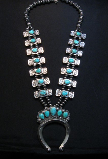 Image 0 of Navajo Turquoise Bow Tie Squash Blossom Necklace, Everett & Mary Teller