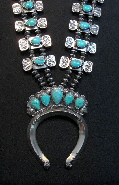 Image 1 of Navajo Turquoise Bow Tie Squash Blossom Necklace, Everett & Mary Teller
