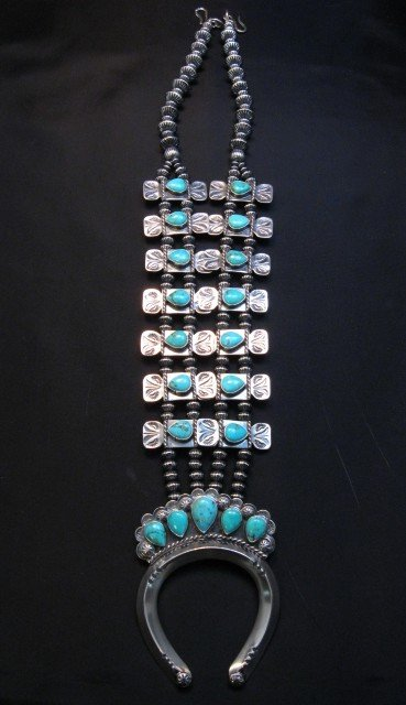 Image 2 of Navajo Turquoise Bow Tie Squash Blossom Necklace, Everett & Mary Teller