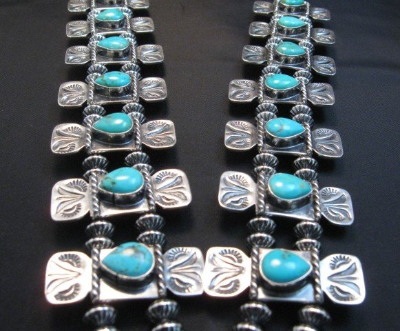 Image 3 of Navajo Turquoise Bow Tie Squash Blossom Necklace, Everett & Mary Teller
