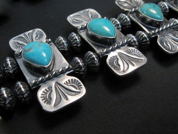 Image 4 of Navajo Turquoise Bow Tie Squash Blossom Necklace, Everett & Mary Teller